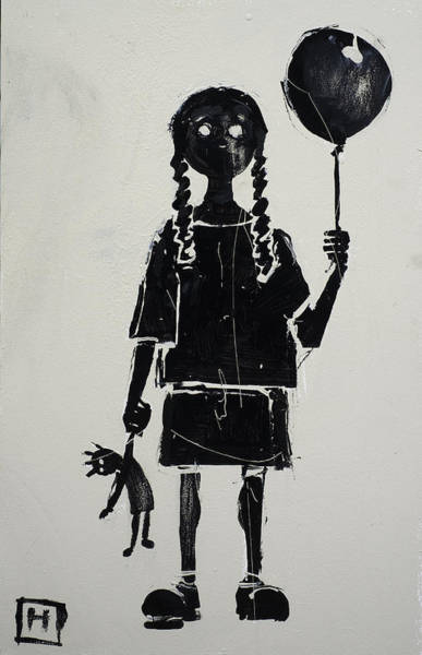 Naive Wall Art - Painting - Girl With Balloon And Doll by H James Hoff