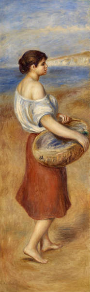 Wall Art - Painting - Girl With Basket Of Fish by Pierre-Auguste Renoir