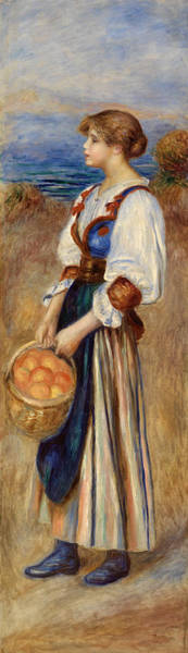 Wall Art - Painting - Girl With Basket Of Oranges by Pierre-Auguste Renoir