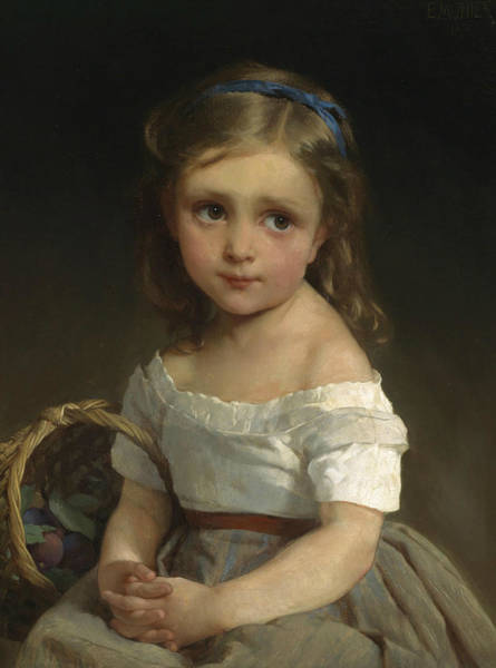 French Painter Painting - Girl With Basket Of Plums by Emile Munier
