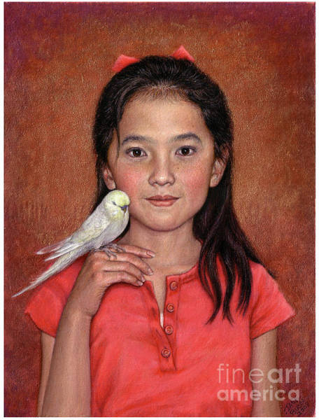 Wall Art - Painting - Girl With Bird by Jane Bucci