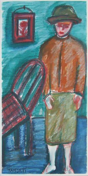 Pastel - Girl With Chair by Katt Yanda