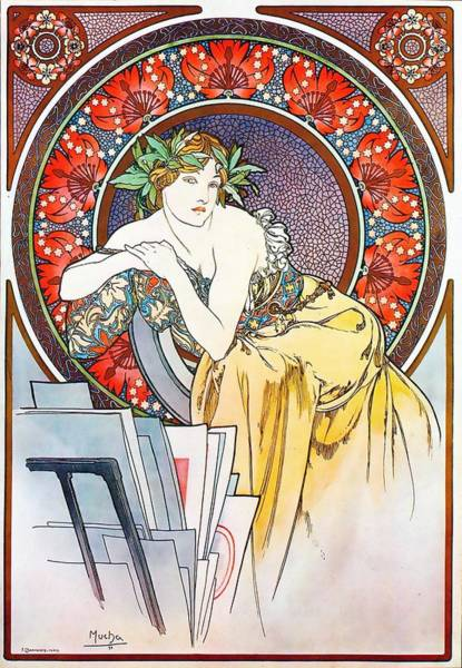 Painting - Girl With Easel by Alphonse Mucha