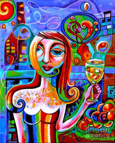 Girl With Glass Of Chardonnay Art Print