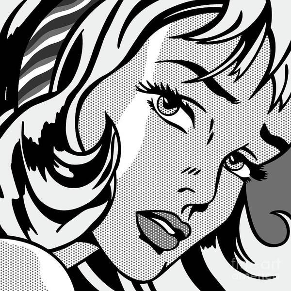 Grayscale Digital Art - Girl With Hair Ribbon_1965 - Grayscale by Bobbi Freelance