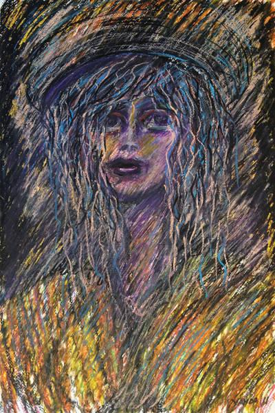 Pastel - Girl With Hat by Katt Yanda