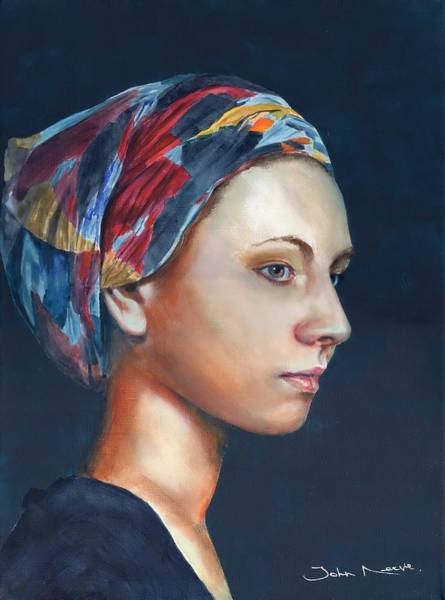 Painting - Girl With Headscarf by John Neeve