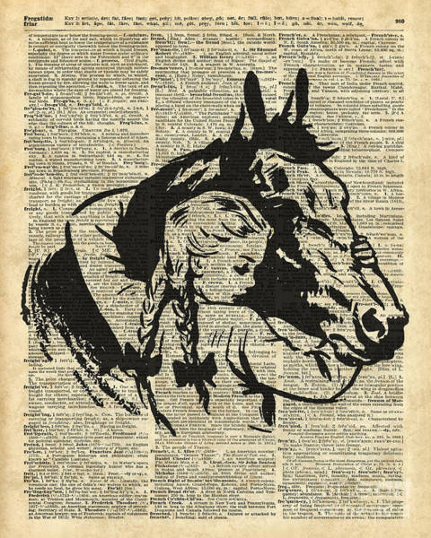 Wall Art - Digital Art - Girl With Horse Illustration Over Vintage Dictionary Page by Anna W
