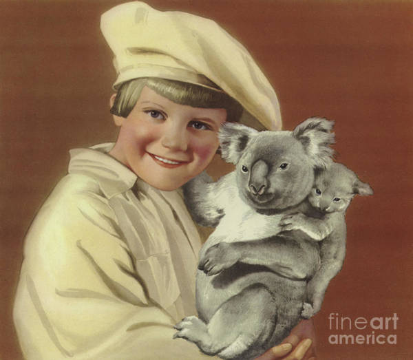 Wall Art - Painting - Girl With Koala And Its Baby by English School