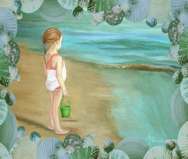 Painting - Girl With Marine Shells Frame by Angeles M Pomata