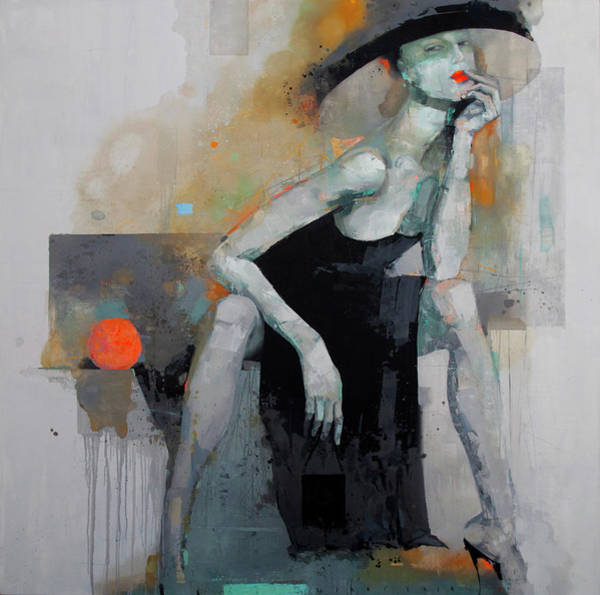 Wall Art - Painting - Girl With Orange by Viktor Sheleg