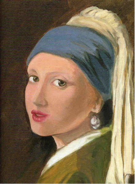Painting - Girl With Pearl Earring Of Vermeer by Asha Sudhaker Shenoy