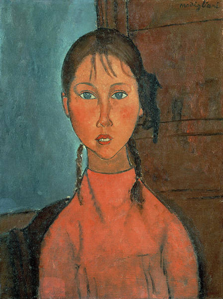 1918 Painting - Girl With Pigtails by Amedeo Modigliani