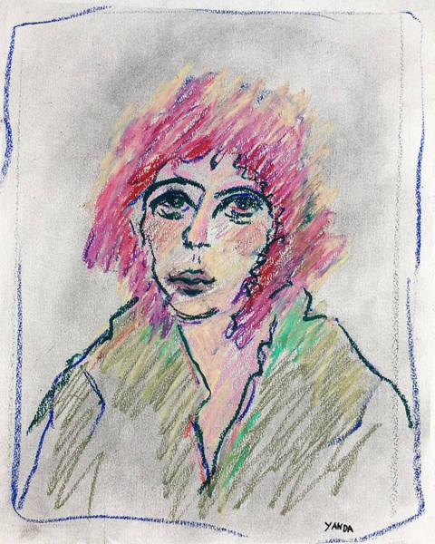 Pastel - Girl With Pink Hair  by Katt Yanda
