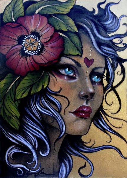 Girl With Poppy Flower Art Print