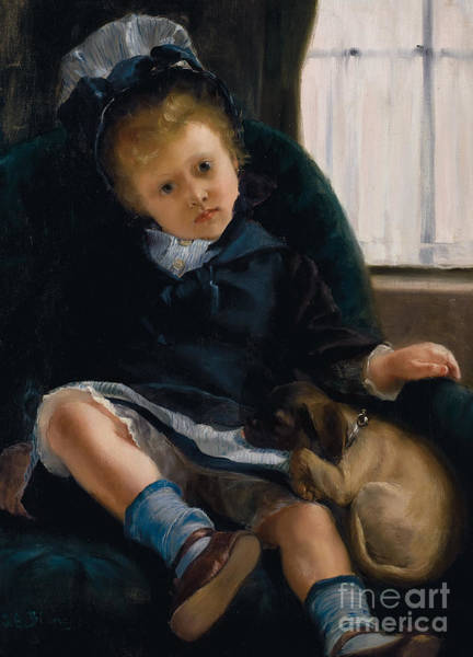 Curl Up Painting - Girl With Puppy by Jacques-Emile Blanche