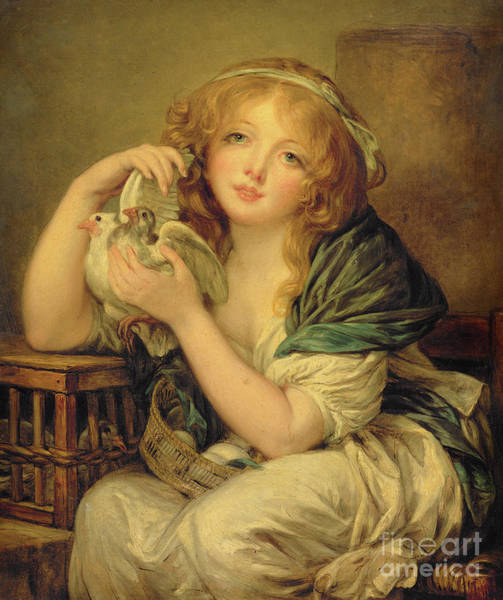 Wall Art - Painting - Girl With The Doves by John Constable