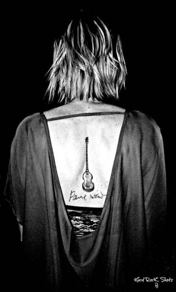 Macca Photograph - Girl With The Hofner Tattoo by Keri Butcher