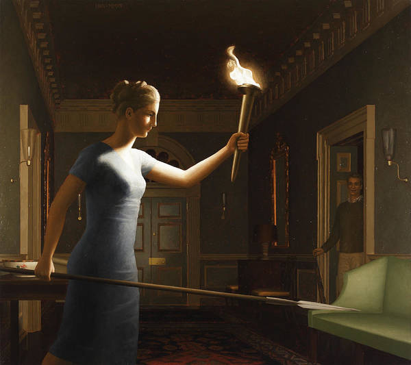 Painting - Girl With Torch by Harry Steen