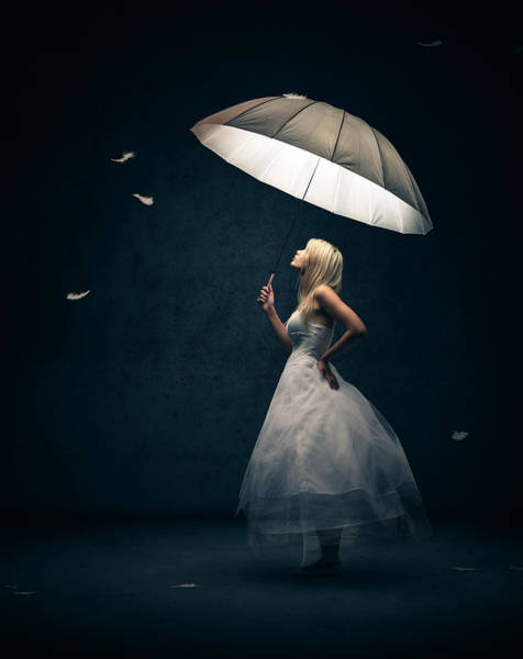 Dark Background Photograph - Girl With Umbrella And Falling Feathers by Johan Swanepoel