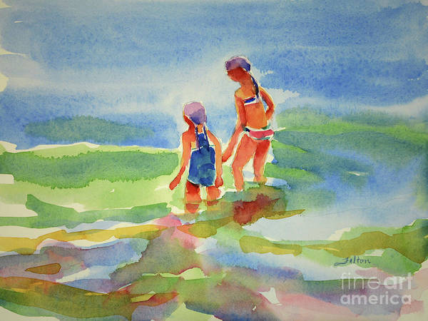 Painting - Girlfriends At The Ocean by Julianne Felton