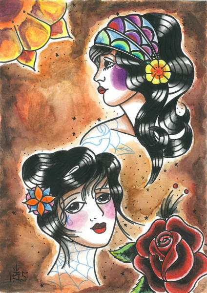 Tattoo Flash Painting - Girls #1 by Jonathan VanderMey