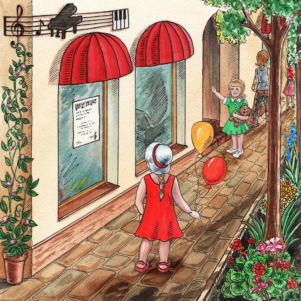 Painting - Girls Are Going To The Music Store by Irina Sztukowski