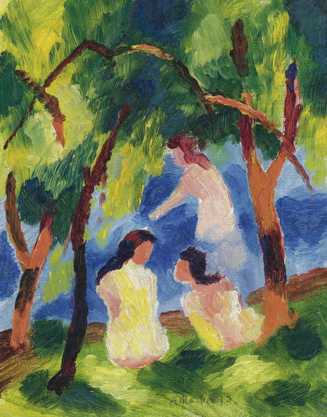 The Blue Rider Wall Art - Painting - Girls Bathing by August Macke