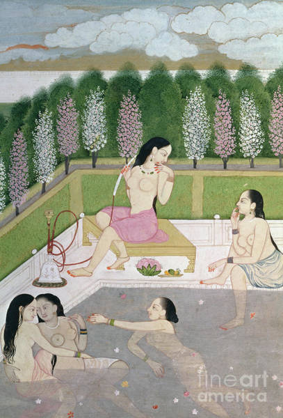 Sensual Drawing - Girls Bathing by Indian School