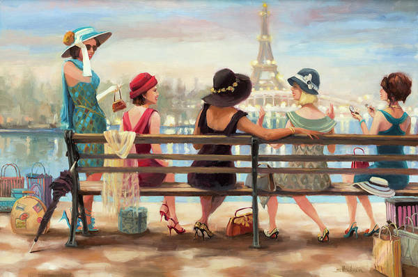 France Wall Art - Painting - Girls Day Out by Steve Henderson