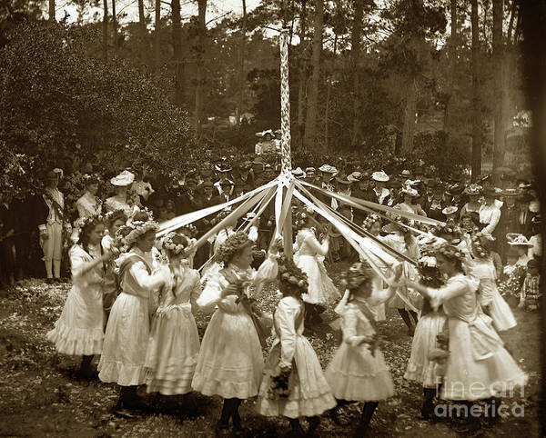 Photograph - Girls  Doing The Maypole Dance Pacific Grove Circa 1890 by California Views Archives Mr Pat Hathaway Archives