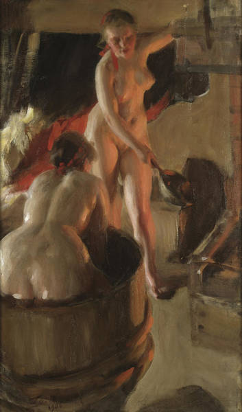 Having Sex Painting - Girls From Dalarna Having A Bath by Anders Zorn