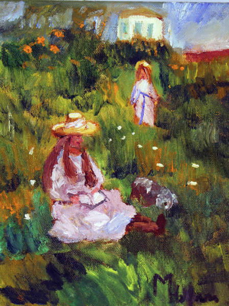 Painting - Girls In The Field, After Monet by Michael Helfen
