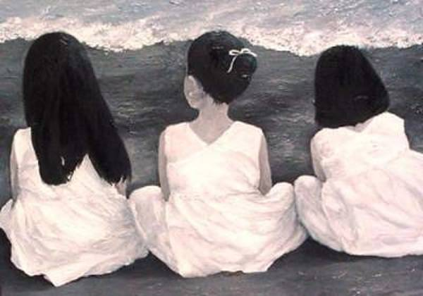 Painting - Girls In White At The Beach by Patricia Awapara