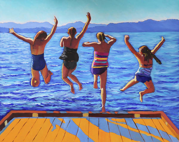 Painting - Girls Jumping by Kevin Hughes