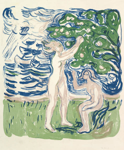 Relief - Girls Picking Apples by Edvard Munch