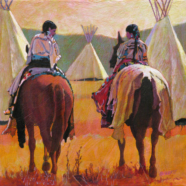 Native American Blanket Painting - Girls Riding by Robert Bissett