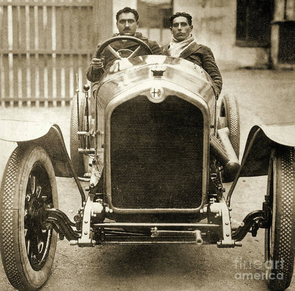 Wall Art - Photograph - Giuseppe Campari And Teammate In An Alfa Romeo At The Targa Florio, Sicily by Italian School