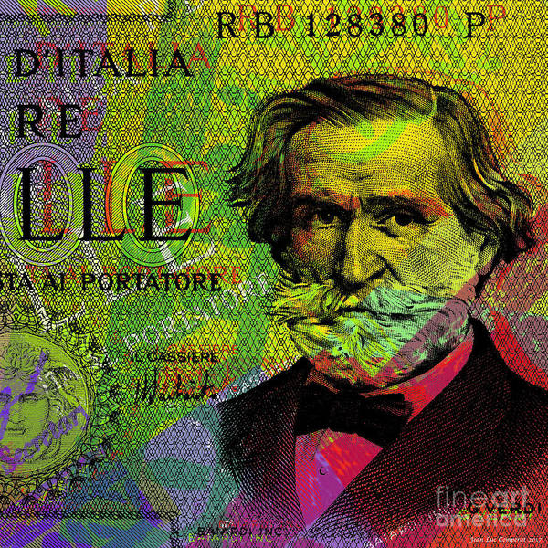 Digital Art - Giuseppe Verdi Portrait Banknote by Jean luc Comperat