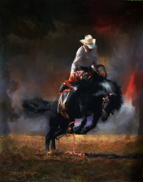 Black Buck Painting - A Wild Ride by Marcia Johnson