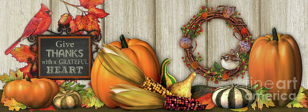 Pumpkin Digital Art - Give Thanks With A Grateful Heart-jp3985 by Jean Plout