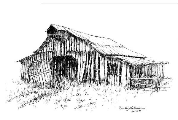 Barn Drawing - Given Up To Nature by Randy Welborn
