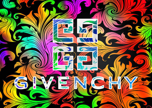 Wall Art - Digital Art - Givenchy Multi Color With Abstract Background by Ricky Barnard
