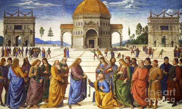 Wall Art - Painting - Giving Of The Keys To Saint Peter by Pietro Perugino