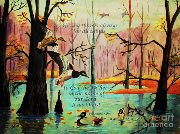 Wall Art - Painting - Giving Thanks Always by Hazel Holland