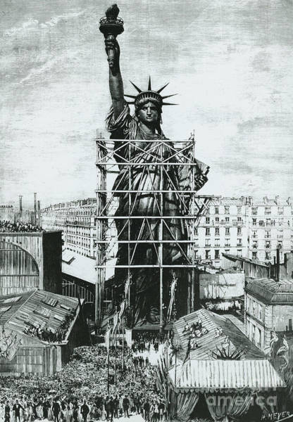 Wall Art - Drawing - Giving The Statue Of Liberty To United States Ambassador by American School