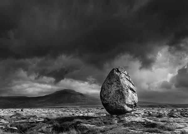 Glacial Erratic Photograph - Glacial Erratic And Ingleborough by Tom Richardson