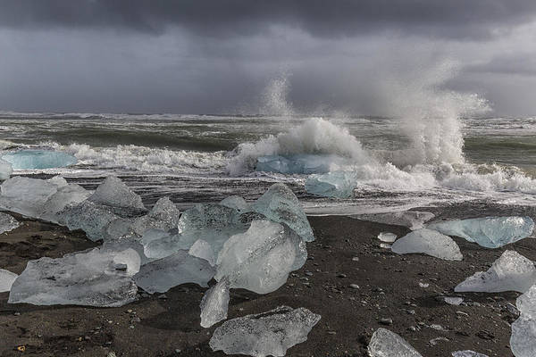 Tapestry - Textile - Glacial Lagoon Iceland 2 by Kathy Adams Clark