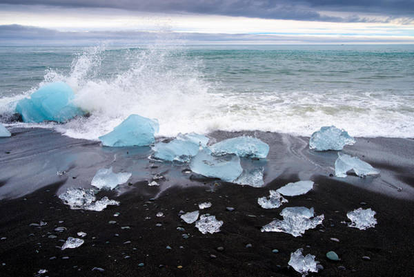 Photograph - Glacier Ice And Black Beach In Iceland by Matthias Hauser