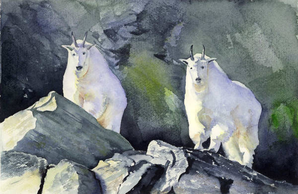 Painting - Glacier Mountaineers - Mountain Goats by Marsha Karle